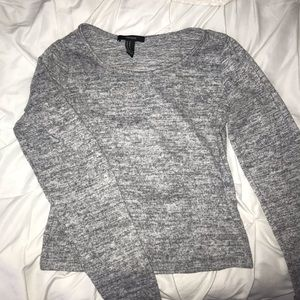 gray cropped long sleeved